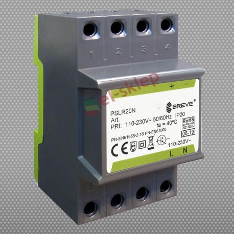 PSLR 20N 230/24VDC 0,8A 20W modułowy impulsowy zasilacz Breve